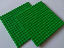 2 x LEGO BRIGHT GREEN BASE PLATES 16x16 PIN