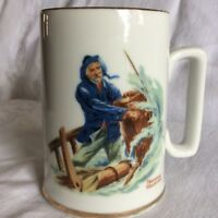 Vintage Norman Rockwell Braving The Storm Tankard Mug Cup Gold Trim coffee Tea