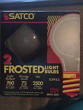 2-Pack Satco Garage Door Opener Frost Lamp Light Bulb 75W 130V S3953