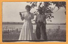 Real Photo Postcard RPPC - Boy & Girl Toy Cork Pop Gun