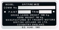 Plaque constructeur TRIUMPH SPITFIRE MK4 - TRIUMPH SPITFIRE MK4 vin plate