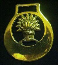 Antique WHEATSHEAF IN RELIEF Horse Harness Brass WOW YOUR WALLS! Hanger Bent!