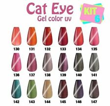 NEW KIT 6 GEL MAGNETIC UV CAT EYE CAMBIA COLORE NAIL ART FARBGEL METALLIC GLITTE