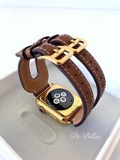 24K Gold 42MM Apple Watch with Leather Etoupe Double Buckle Cuff