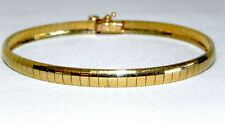 """New 14K Yellow Gold 7"""" Omega Bangle Bracelet 9.8 Grams 5mm Safety Clasp Italy"""