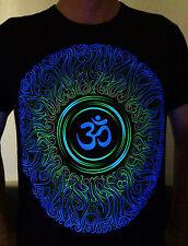 OM Men's Tshirt UV-blacklight Psychedelic Goa Aum Ohm Yoga Psy Trance