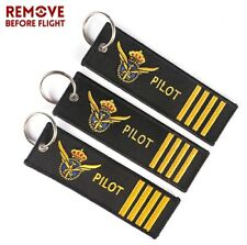 3 PORTACHIAVI IN TESSUTO CO SCRITTA PILOT AND REMOVE BEFORE FLIGHT AVIAZIONE
