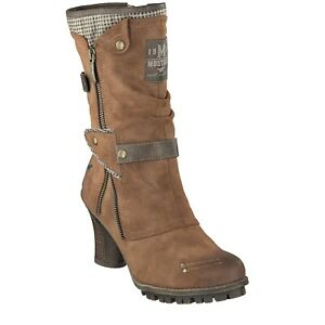 Mustang NEW 1141-606 chestnut brown faux suede high heel mid calf boots size 4-8