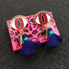 Betsey Johnson Pink Enamel Eyes Tassel Charm Women's Ear Stud Earrings