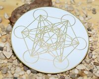 Metatron cube crystal grid plate, gold plated metatron sacred geometry coaster