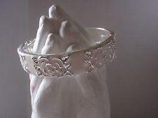 Glossy Off White Enamel & Silver-toned Metal Rose Floral Clamper  Bracelet