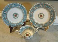 Wedgwood Florentine Turquoise Rim Bone China - Salad Plates Cream Soup 3 pcs