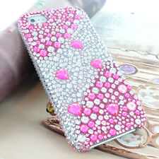 Pink Hearts Rhinestone Bling Diamond Hard Case For Apple iPhone 5S 5 w/Screen