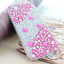Pink Hearts Rhinestone Bling Diamond Hard Case For Apple iPhone 5S 5 w/Screen