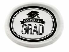 """12 packs of 8 Plates 10""""x12"""" Oval Paper Dinner Plates Wax Coated - Congrats Grad"""