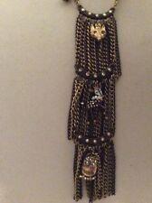 $55Betsey Johnson Woodland Critter Fringe Necklace Owl Deer Fox    BK8