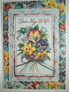 """BOUQUET OF SPRING FLOWERS """"FOR MY WIFE"""" EASTER GREETING CARD + WHITE ENVELOPE"""