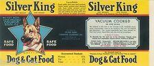 VINTAGE CAN LABEL RARE DOG FOOD 1950S SILVER KING GERMAN SHEPHERD KANSAS CITY