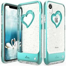 iPhone XR Case Cover Silver Glitter Bling Heart Case Cover Slim Dual Laye