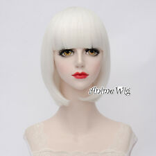 Lolita White Short 35CM Bob Fashion Party Women Cosplay Wig with Bangs + Wig Cap