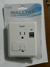 ProHT WALLTAP Inland Dual USB CHARGEPORT 2.1A Wall Plate Charger White.