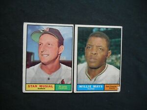 1961 Topps #150 #290 Willie Mays Stan Musial Baseball Card Lot 2 Giants Cardinal