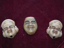 "Three TOSHIKANE style era Molded Glass CHINESE FACES Ivory Colored 1"" Plaquettes"