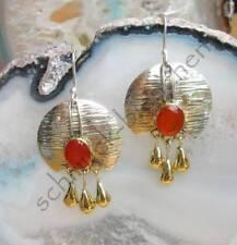 Ohrring Karneol roter Stein Scheibe goldene Tropfen Sterling Silber 925
