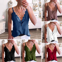 Women Lace Vest Sleeveless Camisole Casual V-Neck T-Shirt Tank Tops Blouse