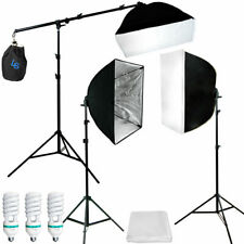 Photograpy 3 Soft Box Boom Stand Continuous Lighting Kit Photo Studio Video