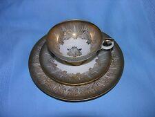 Vintage Bavaria Elfenbein Porzellan Tea Cup, Saucer, & Dessert Plate #68 w/ Gold