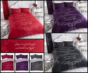 New Good Night Slogan Script Poly-Cotton Duvet Quilt Cover Set Size Double King