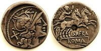 Republica Romana-Gens Afrania. Denario hacia 150 a.C. EBC-/XF- Plata 4 g. Escasa