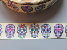 Sugar Skull Gold Grosgrain Ribbon 2.5cm  x 1 Metre  Sewing/Costume/Crafts/Cake