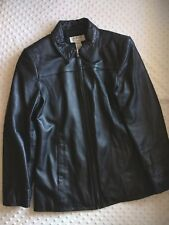 Womens Leather Jacket Black Size Medium Soft Zip Front Pockets Career Alfani