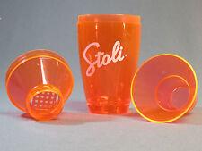 "Stoli Vodka Mixed Drink Shaker Orange 3 Pieces Plastic mix bar mixer 7"" tall New"