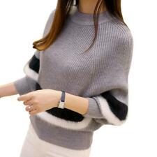 Rayas suéteres para mujeres Manga Ala de Murciélago Cuello en O pulóver suelto tejido de algodón