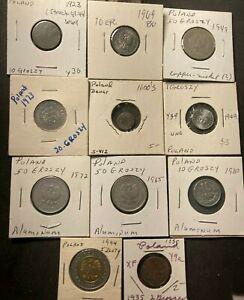 Vintage Poland Coin Lot - 1660-1994 - 11 EXCELLENT Coins - Lot #A13
