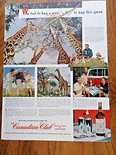 1949 Canadian Club Whiskey Ad Photographer Bags Giraffes Tanganyika
