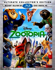 Disney Animals Zootopia 3D Blu-ray DVD & Digital Copy with Lenticular Slipcover