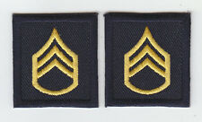 2 SSG Staff Sergeant GOLD on MIDNIGHT NAVY rank insignia collar/lapel patches