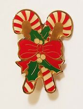 Holly Leaves White Berries Pin Brooch Double Candy Canes w Red Bow