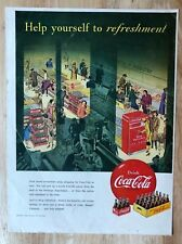Original Print Ad 1950 COCA-COLA Help Yourself to Refreshment Super Market