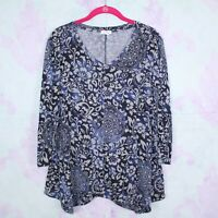 Westport Large L Dressbarn Gray Blue Floral Boho Stretch Hacci Knit Tunic Top