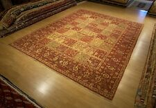 9 x 12 Fine Quality Hand Knotted Garden Design Afghan Rug _Vegetable Dye Wool