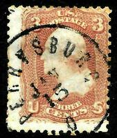 "Sc #65 ""Perrysburg O JAN 15"" SON Town Date Cancel 3 Cent Washington 1861 US80D42"
