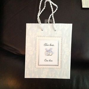 Lot of 4 new WEDDING, ENGAGEMENT, ANNIVERSARY gift bags Two Lives...One Love.