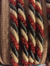 "Upholstery Trim 1/2"" /Sage Green Copper/Orange , Beige ROPE FABRIC TRIM 25 Yards"