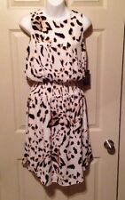 Vince Camuto SERENGETI Antique White Leopard Blouson Dress Sz L $149