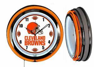 "Cleveland Browns 19"" ORANGE Neon Clock Man Cave Game Room Helmet Football Dial"